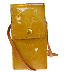 Authentic LOUIS VUITTON Green Shoulder Bag Monogram Vernis Beige M91048 02MI281