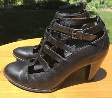 "Born Crown Women's ""Keegan"" Black Leather Heeled Ankle Strap Sandals Size 7M US"