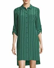 NWT Diane von Furstenberg Prita Silk Shirt Dress in Dark Green 14 $368