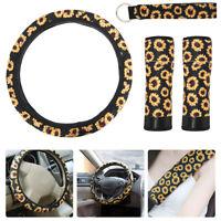 Car Steering Wheel Cover + Seat Belt Pads+ keychain Neoprene Sunflower 4PCS