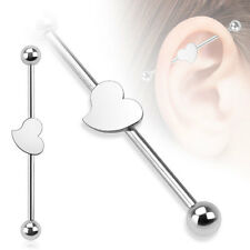 "Surgical Steel Heart Logo Design Cartilage Piercing Industrial Barbell 14G 1.5"""