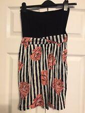 Motel Rocks XS Strapless Dress Striped Rose