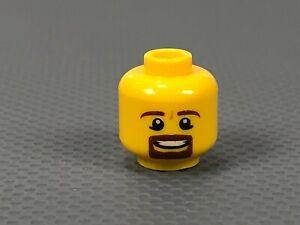 LEGO Minifigure HEAD Male Brown Beard Goatee and Eyebrows, Smile with Teeth (x1)