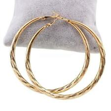 Elegant Hoop Earring stainless steel pin Donut gold plated for woman 60x62x4mm
