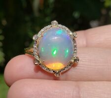Opal & Diamond Ring 14 karat Solid Gold  Size 5.25 Jewelry #1606 Watch Video