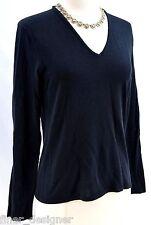 DONCASTER cotton sexy Sweater pullover V Neck fine knit black top L/S M VTG 80s