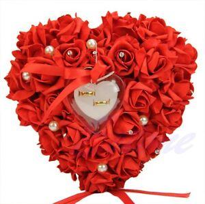 Rose Wedding Ring Box Heart Shape Design Elegant Gift Rings Pillow Cushion New