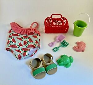 Used Our Generation Slice of Fun Watermelon Swimsuit Set Sunglasses Bag