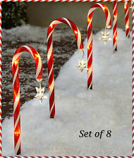 Solar Christmas Candy Cane Yard Stakes Holiday Pathway Outdoor Decor - CHOICES