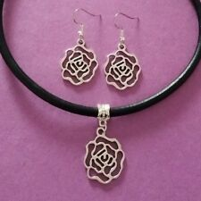 Black Leather Choker Necklace with Rose Flower Charm & Matching Earrings Set