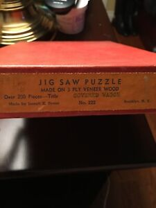 Vintage Wood JIGSAW PUZZLE- Joseph STRAUS- Covered Wagon 3 Ply Veneer Wood