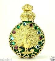 PEACOCK Vintage Gold Tone Filigree Malachite Green Glass PERFUME BOTTLE Gift