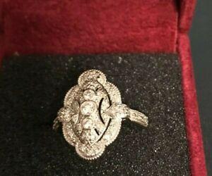 AFFINITY DIAMOND ART DECO STYLE RING-----SIZE 8-----------------14K--------sa