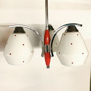 50'S 60'S Italian Ceiling Light With Red Polka Dot Glass Shades Atomic