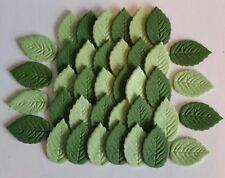 36 x Small Edible 2 Shades of green Sugar Paste Leaves
