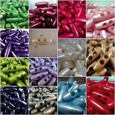 10pcs 30mm CUTE PEARL PLASTIC TOGGLE ITALIAN BUTTONS-LARGE SELECTION OF COLOUR!!