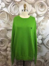 CHAPS Mens Sweater Pullover Lime Green Casual Crewneck 100% Cotton NWT Sz XL