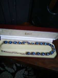 Vintage Blue Agate Glass Necklace