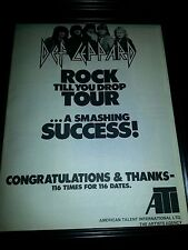 Def Leppard Rock Til You Drop Rare Original Promo Poster Ad Framed!