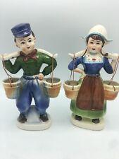 "Vintage X2 Ceramic Dutch Boy and Dutch Girl/Yoke Carrying Buckets Tilso Japan 9"""