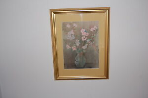 """Original framed & mounted pencil drawing by Celia Mol - """"Cherry Blossoms""""."""