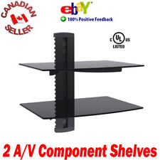 Double (2) Components DVD wall mount shelves floating Cable PS3 PS4 2 tier dual