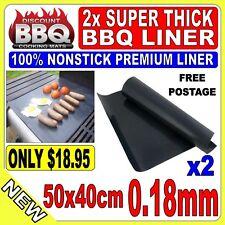 2x BBQ COOKING SHEET MATS NONSTICK TEFLON .18mm THICK ALL PURPOSE HOTPLATE LINER