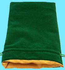 GREEN VELVET & LUXURY SATIN GOLD Lining DICE BAG NEW 6x8 Storage Pouch MDG Silk