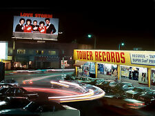 1970s Tower Records Store and parking lot at night 8 x 10 Photograph