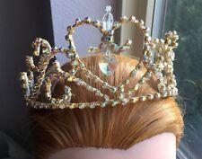 Professional Ballet Tiara Headpiece Gold AB Crystal Aurora Paquita Crown YAGP