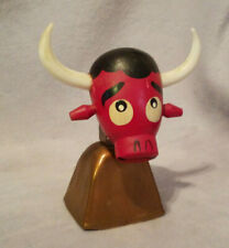 Vcagco 1950's Era Wooden Red Bull Head, Cowbell Metal Bell