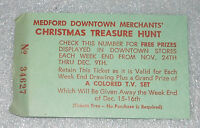 Medford Downtown Merchants Christmas Treasure Hunt Raffle Ticket 1950s Vintage