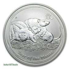 2008 AUSTRALIAN LUNAR II 1 Oz. SILVER COIN YEAR OF THE MOUSE BU