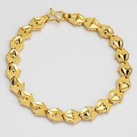 "Women's Heart Bracelet Chain 18K Yellow Gold Filled 7.3"" Link Fashion Jewelry"