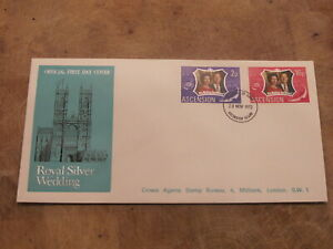 1972 Ascension FDC / Cover -Queen & Prince Phillip Royal Silver wedding