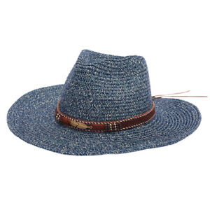 Beach Sun Hat Blue Straw Summer Hats for Men Women Wide Brim Sombrero Men Fedora