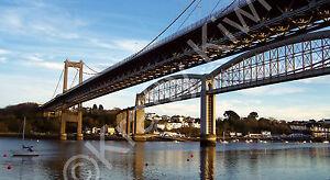 """Saltash Bridge & Brunel's Royal Albert Bridge Photo Canvas 12x22"""" panorama (UK)"""