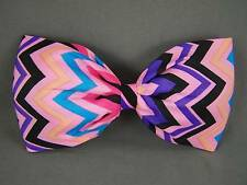 "Pink Purple fabric big Huge BOW 6"" wide barrette hair clip gator claw kawaii"