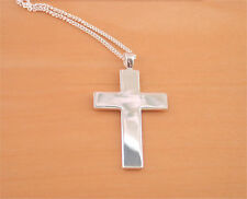 """925 Sterling Silver Mens Cross & 20"""" Sterling Silver Curb Chain/Mans Cross Jewel"""