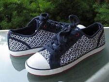 TOMMY HILFIGER Women's Navy Canvas Signature Fashion Sneakers, size 8.5 NEW