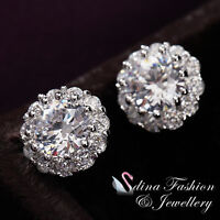 18K White Gold Plated Simulated Diamond Exquisite Flower Stud Earrings