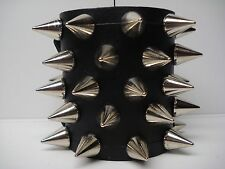 LEATHER SPIKED BRACELET. DEATH METAL .....(MDLB0214)..... IMPALED