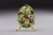 Faberge Egg & Beetle trinket box hand made by Keren Kopal & Austrian crystals