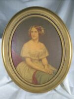 """Antique faux oil painting elegant young woman in wooden gold frame - 8.75x11.5"""""""