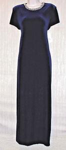 PATRA NAVY BLUE SILVER NECKLINE VELVET STRETCH FORMAL EVENING DRESS GOWN SIZE:14
