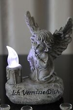Deko Engel mit LED Beleuchtung Solar Kerze Figur Grab Grabschmuck Grableuchte