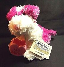 PLUSH FUSHIA AND WHITE DOG 10 IN LONG WITH PLASTIC CONTAINER ANIMAL ALLEY