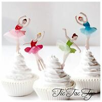 🎀12 x Ballet Ballerina Dance CUPCAKE CAKE TOPPER Party Supplies Lolly Loot Bag