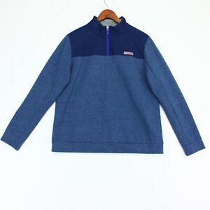 Vineyard Vines Mesh Performance Shep Shirt Womens Medium Blue 1/4 Zip
