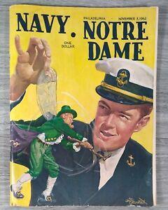 November 3 1962 NCAA Football Program Navy vs Notre Dame - Roger Staubach - RARE